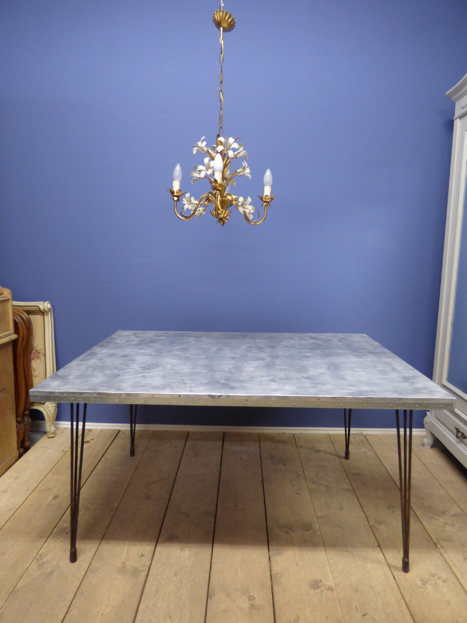 industrial french dining table steel top g142 the french depot